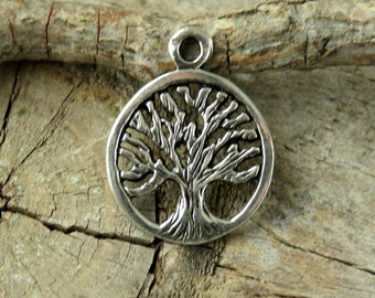 Charms - Tiny Sterling Silver Tree Of Life -Findings -Jewelry Making Supplies - Bohemian Findings -Sterling Silver Charms - Artisan Findings