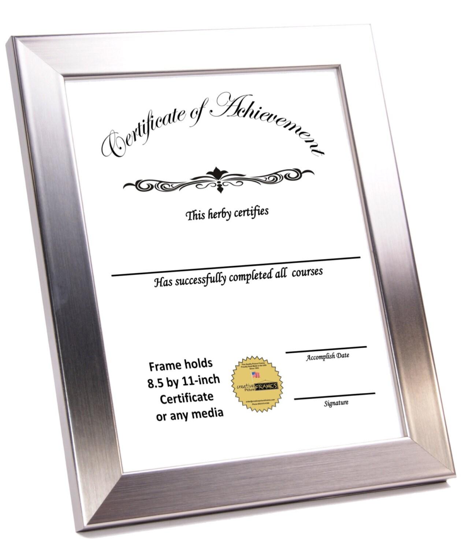 Documento de 8.5 por 11 pulgadas de acero inoxidable certificado ...