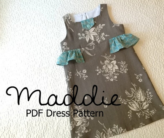 Maddie - Girl\'s Ruffled Dress Pattern PDF. Girl Kid Toddler Child ...