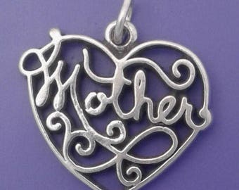 MOTHER HEART Charm .925 Sterling Silver Pendant - lp3994