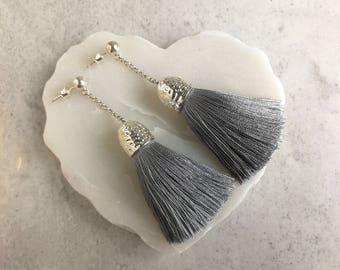 Gray silver tassel earring, Tassel earrings, Dangle and drop earrings, Tassel jewelry, Statement earrings, Earrings, Long tassel earrings