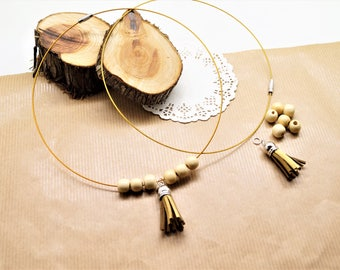 Kit necklace honey neck, stainless steel cable with screw clasp, diam. 6.5 cm
