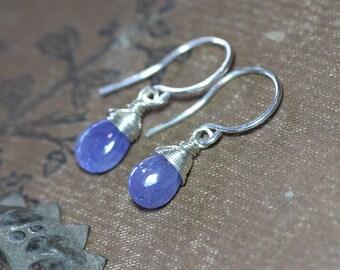 Tanzanite Earrings Violet Blue Earrings Sterling Silver Wire Wrapped Gemstone Jewelry Purple Earrings