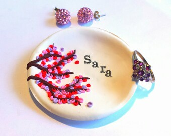 Custom Name Personalized Jewelry Dish, Christmas Gift Ideas, Ring Dish, Trinket Dish, Personalized Wedding Favors, Tree of Life Jewelry Dish
