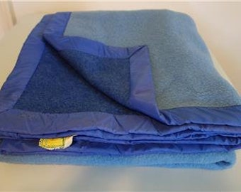 Vintage PURE WOOL BLANKET Laine 2-Tone France Twin Blue #2
