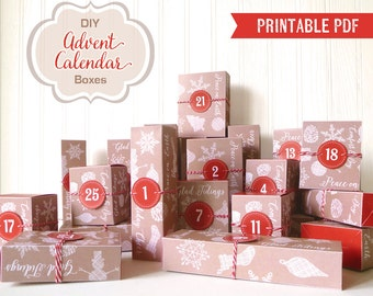 Advent Calendar Printable Boxes, DIY Advent Calendar PDF, Countdown to Christmas, Instant Download