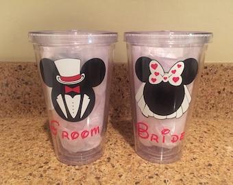 Disney Wedding Engagement Bride Groom tumbler