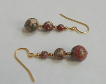 Leopardskin Jasper Gold-Filled Dangle Earrings