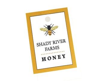 "Beekeeping Gift, Honey Tags, 18 Personalized Food Tags, Honey Bee, Beehive Supplies, Honey Labels, 1.5"" x 2"""