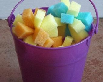 Small sponge balls, yellow, blue, red and orange varieties