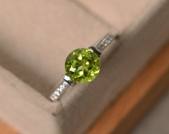 Natural peridot ring, August birthstone, sterling silver, engagement ring, promise ring