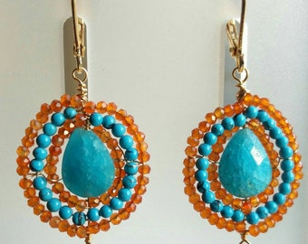 Carnelian, Turquoise, blue quartz earrings
