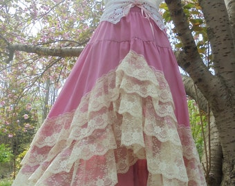 Pink lace  skirt vintage rockabilly swing square dance pin up  party  small  medium from vintage opulence on Etsy