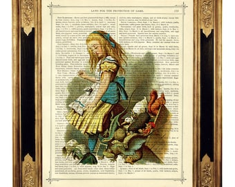 Alice in Wonderland Art Animals Pets Image Poster - Vintage Victorian Book Page Art Print Steampunk color
