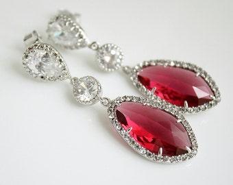 Red Bridal Earrings, Wedding Jewelry, Red Wedding Earrings, Silver, Cubic Zirconia, Ruby Red Glass drop Earrings