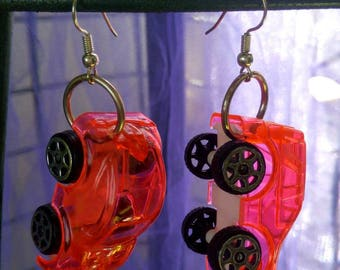 Cute cars earrings neon pink earrings upcycle jewelry recycling toys for ears fluorescent pink cars for girls gift ideas