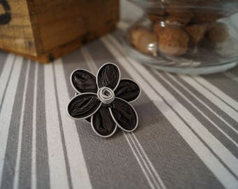 Ring Nespresso dark grey small flower