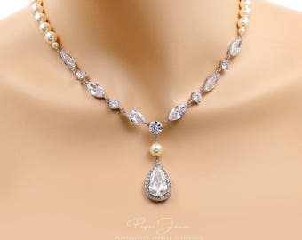 Wedding Necklace Swarovski Pearl Zirconia Teardrop pendant Necklace Wedding Jewelry Bridal Jewelry Bridal Necklace Statement Necklace Ju