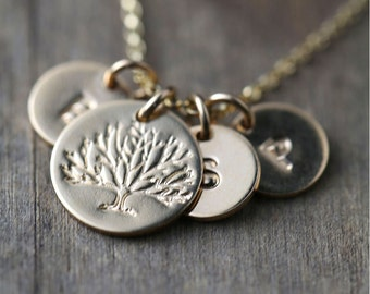 Hand Stamped Family Tree Necklace