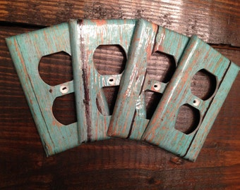 Turquoise Wood Grain Light Switch And Outlet Covers | Rustic Distressed - Set of 4 - Faux Wood - Home Decor - Nursery - Home Accents - Gift