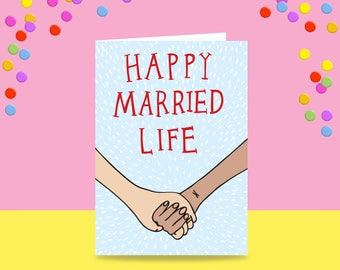 Greeting Card - Happy Married Life - Two Woman Version | Marriage Card | Wedding Card