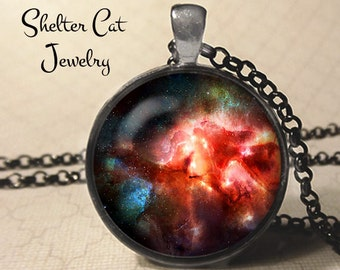 "Red Nebula Pendant - 1-1/4"" Round Necklace or Key Ring - Wearable Photo Art Jewelry - Universe, Galaxy, Space, Science, Outer Space Gift"