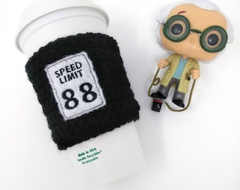Back to the Future Speed Limit 88 Cup Cozy -  nerd gift, scifi, crochet cozy, coffee cozy, coffee cup cozy, tea sleeve, cup cover, knit cozy