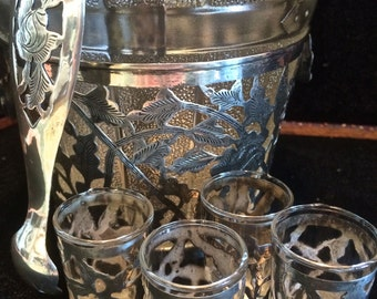 Sterling Silver and Glass Ice Bucket Shot Glasses & Ice Tongs  Mexican Barware Sterling Silver Barware Glass Embossed Barrel Ice Bucket