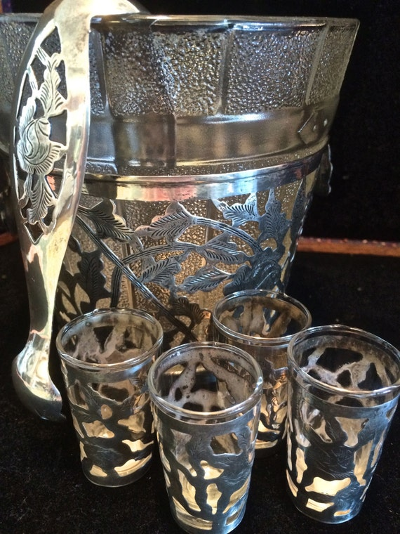 Sterling Silver And Glass Ice Bucket Shot Glasses U0026 Ice Tongs Mexican Barware  Sterling Silver Barware Glass Embossed Barrel Ice Bucket