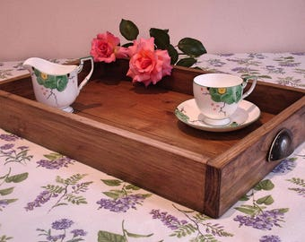 Rustic Wooden Tray, handmade wooden tea tray, serving tray, breakfast tray, crate, garden tray,  wedding serving tray, from reclaimed wood