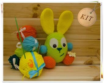 Amigurumi Bunny Kit, Crochet Bunny Kit, DIY Bunny Kit, Easter Bunny Kit, Bunny Craft Kit, Plush Bunny Kit, Bunny Kit Set, Crochet Bunny Gift