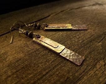 Boho Earrings, 2 3/4 inches, Copper Earrings, Metal Earrings