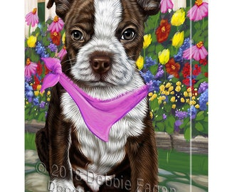 Spring Floral Boston Terrier Dog Canvas Wall Art