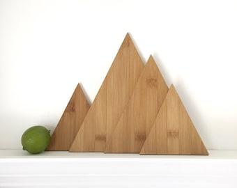 Mountain Cutting Board Set, Eco Friendly Mountain Decor, Sustainable Home Decor, Boho Decor, Modern Kitchen, Serving Platter, Farmhouse