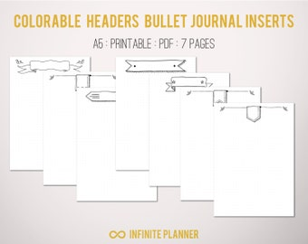 Cute page template 5 pages bullet journal printable bullet journal pages with cute colorable headers 7 pages bullet journal printable maxwellsz
