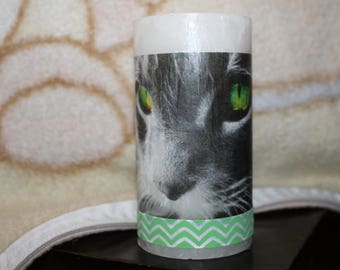 custom candle cat green eyes