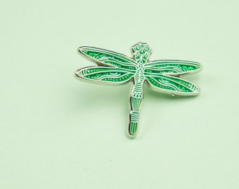 Green Dragonfly Pin / Cute Dragonfly Gift / Animal Enamel Pin / Glitter Dragonfly Lapel Pin / Animal Pin / Cute Dragonfly Pin / Libélula