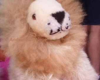 Lion's Stuffed Animal in ALPACA SKIN fiber 100% natural brown color candy or white plush Very soft lion made in Peru