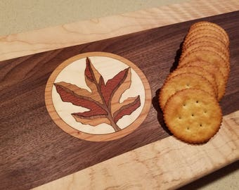 Inlay Serving Tray...walnut/curly maple, maple leaf
