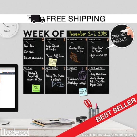 Week of Weekly Calendar Chalkboard Decal by Todeco