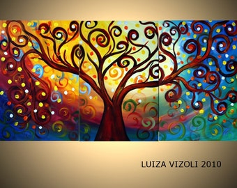 Large 72x36 Landscape Abstract Painting Original Oil Triptych Painting INNER JOURNEY by Luiza Vizoli 72x36