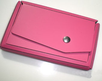 Hot Pink Eco-Chic Leather Business Card Case
