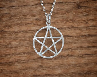 STERLING SILVER Pentacle, Pentagram Pendant Necklace, Charm or Earrings - Chain Optional