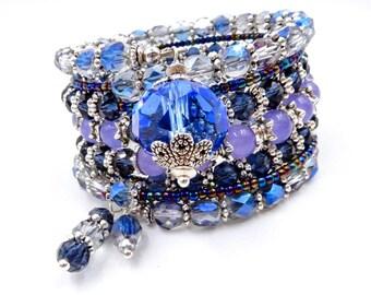 Blue memory wire bracelet, memory wire wrap bracelet, blue beaded bracelet, blue wrap bracelet, blue and silver bracelet, beaded bracelet
