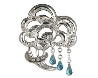 Bouquet of Rain Silver Brooch with Blue Topaz Drops and Diamonds - Blue Topaz Brooch - Cloud and Rain