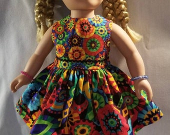 Black and bright multi-color circles doll dress made to fit American Girl and other, similar 18 inch dolls