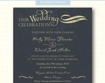 Wedding Invitation, vow renewal, anniversary, 5x5 square, 25th, 40th, 50th, rehearsal, formal, black, digital, printable, W8071