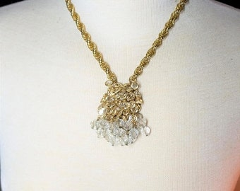 25% OFF SALE Vintage Crystal and Gold Tone hanging Crystal Necklace