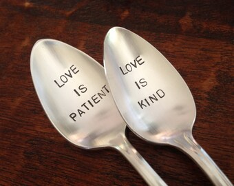 Love is Patient, Love is Kind   Wedding Spoons Hand Stamped Vintage Silverplate