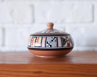 Aztec Tribal Ceramic Dish with Lid